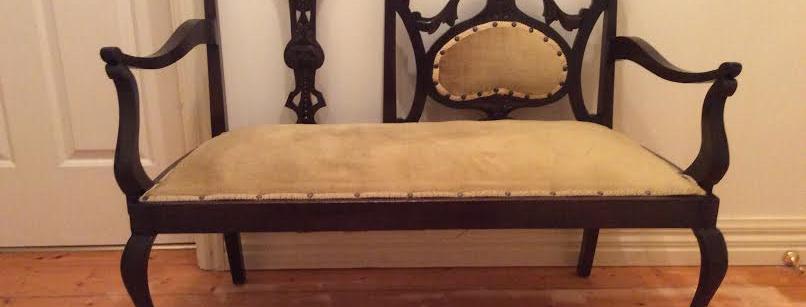 Art Nouveau Blackwood Love Seat. Circa 1890