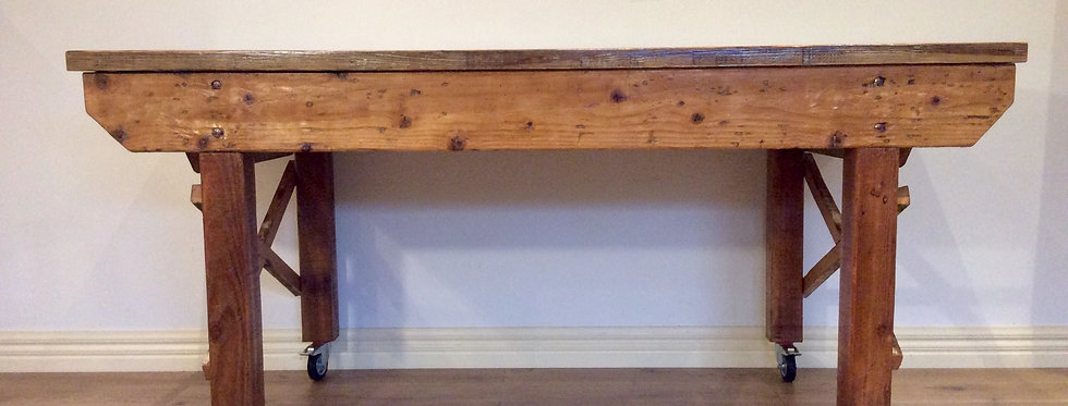 Reclaimed Industrial Oregon and Pine Kitchen Island Bench on Rolling Castors.