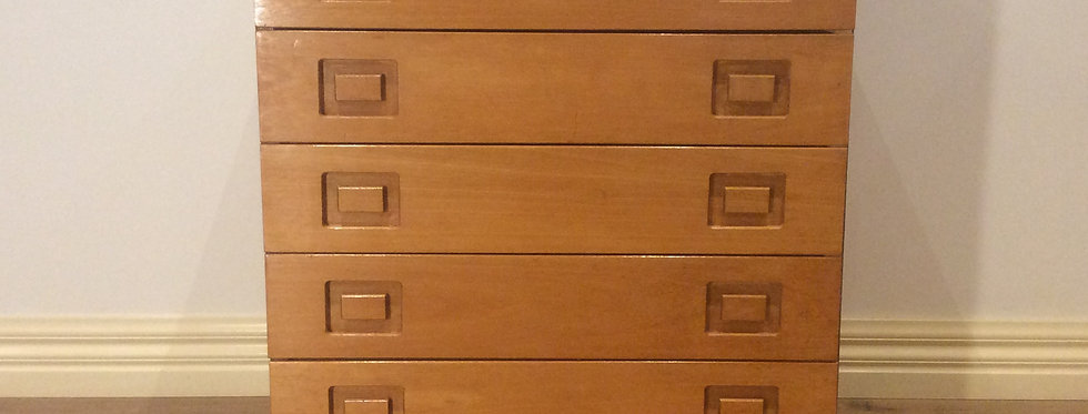 Mid Century Alrob Blonde Wood Five Drawer Chest.