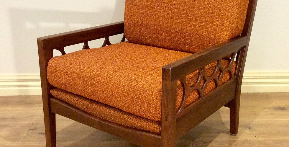 Australian Made Mid Century Solid Blackwood Arm Chair. Circa 1960 - 70.