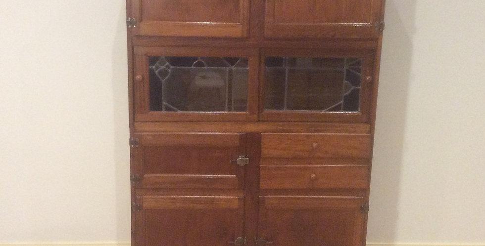 Antique Oak Kitchen Cabinet with Lead Light Panel Doors Front