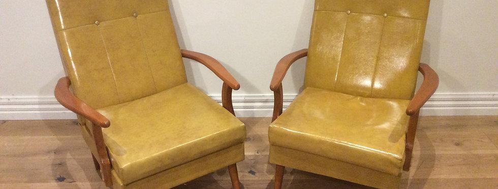 Mid Century Vinyl Arm Chairs