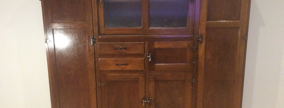 Antique Cedar Kitchen Hutch Cabinet with Sliding Glass Panels.