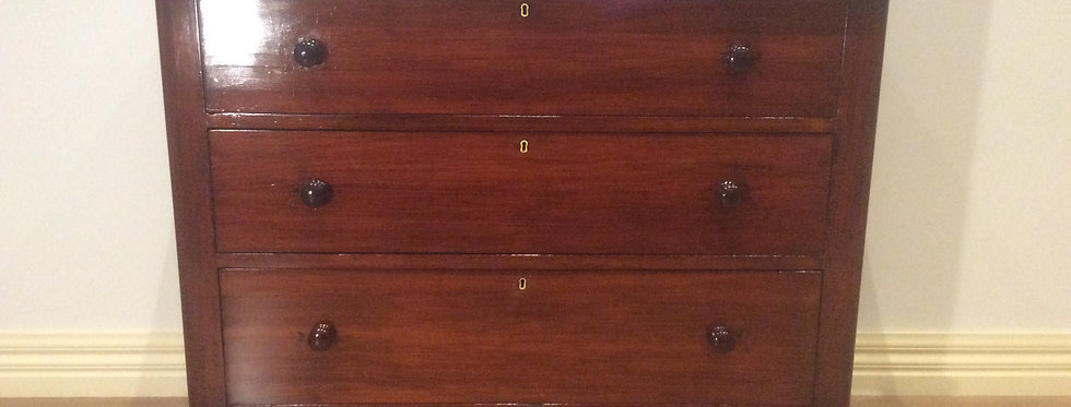 Restored Victorian Cedar Three Drawer Chest.