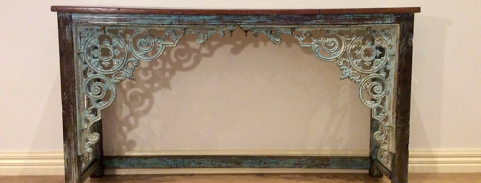 Shabby Chic Victorian Hall Console with Decorative Cast Iron Lacework.