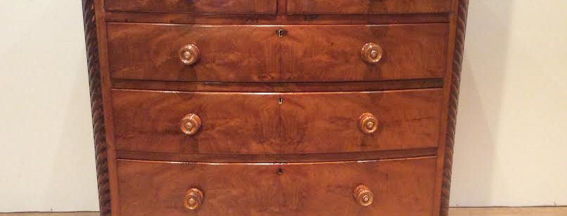 Bow Fronted Georgian Flame Mahogany Chest of Drawers