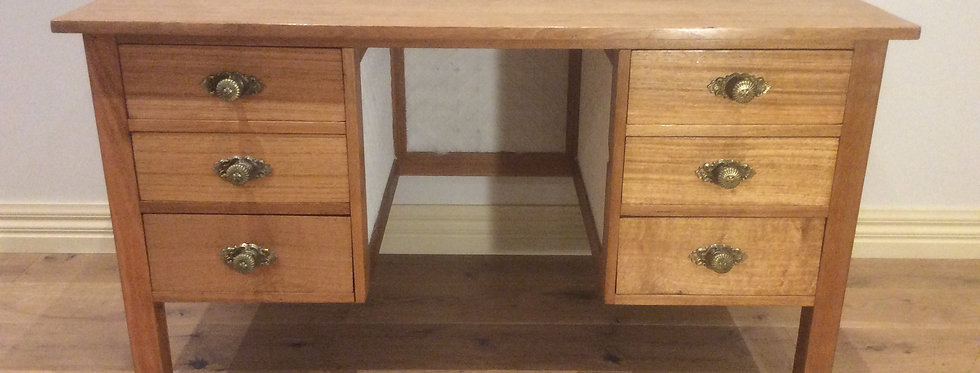 Antique Hardwood Desk with Press Metal Panelling