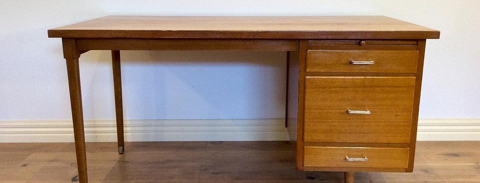Mid Century Three Drawer Hardwood Desk with Atomic Legs.