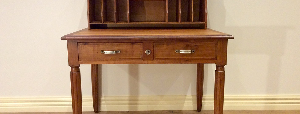 Vintage Custom-Made Hardwood Writing Desk with Detachable Hutch.