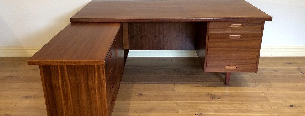 Mid Century Danish Style Teak Corner Desk with Return Credenza. Circa 1960.
