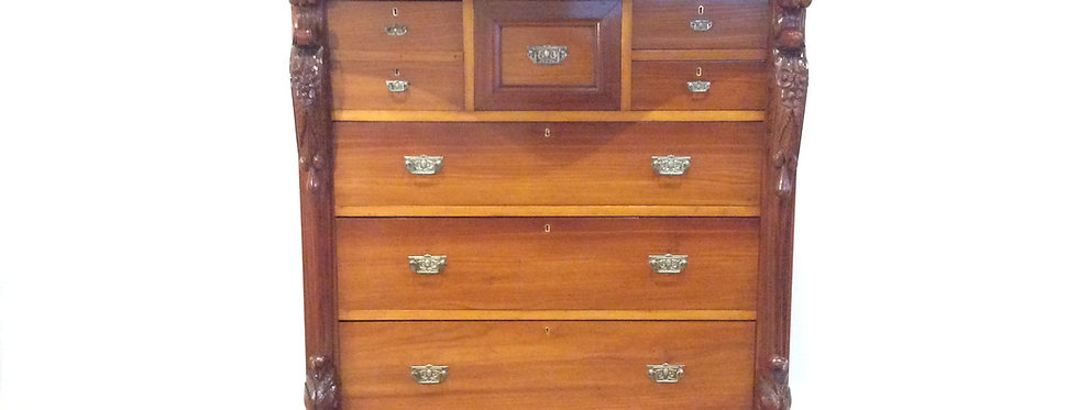 Large Serpentine Front Blackwood Chest of Eight Drawers.
