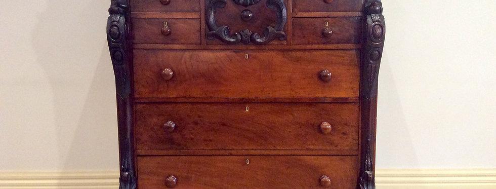 Victorian Serpentine Front Eight Drawer Cedar Chest.