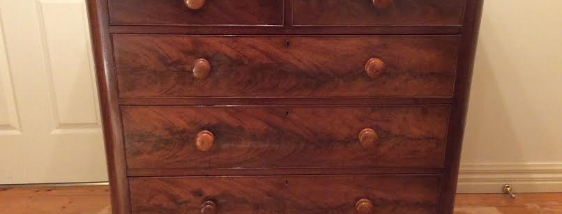 Antique Georgian Flame Mahogany Chest of Drawers