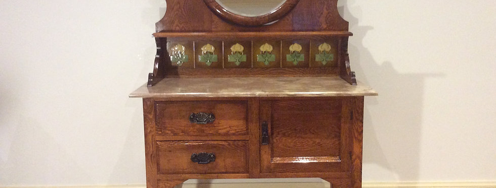 Antique Marble Top Washstand with Tiled Back & Oval Mirror. Circa 1890.
