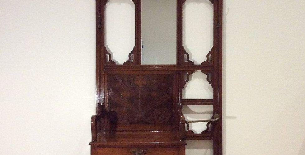 Decorative Art Nouveau Hall Stand with Seat Storage