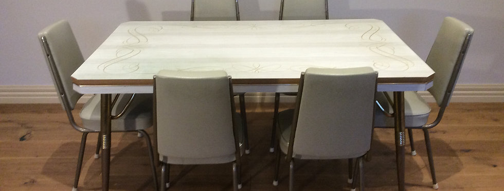 Mid Century Dining Table with Six Matching High Back Chairs.