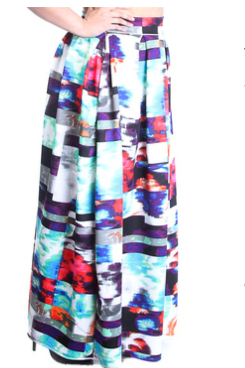 Printed High Waist Maxi Skirt