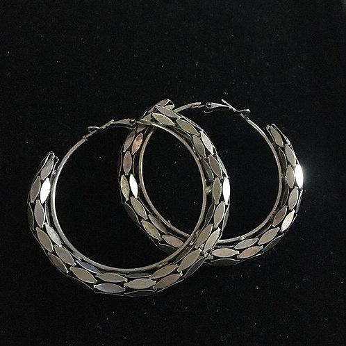 Brocade Hoop Earrings