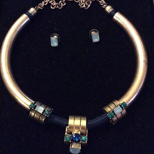 Blue and Gold Necklace Set with Earrings