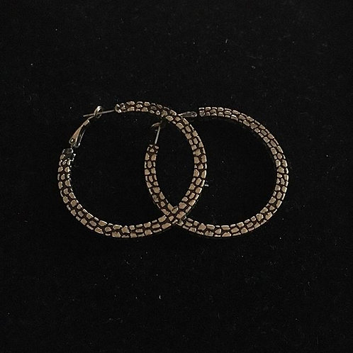 Gold Distress Hoop Earrings