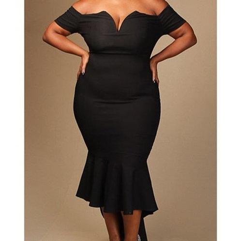 Off Shoulder Flared Fitted Black Dress