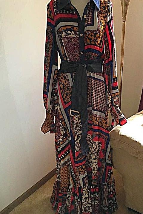 Paisley Denim Maxi Metal Dress