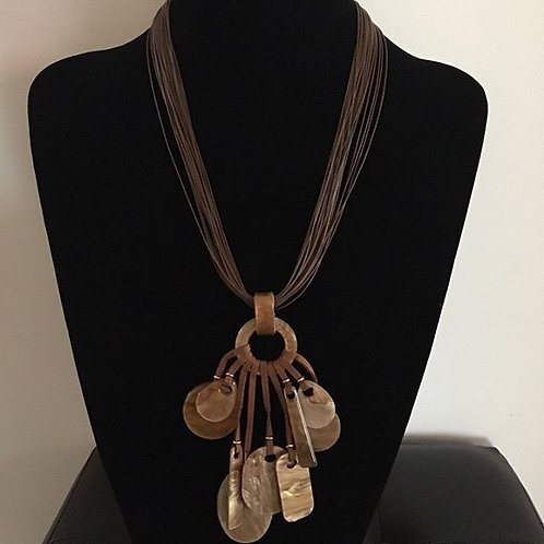Tan Rope Necklace and Earrings
