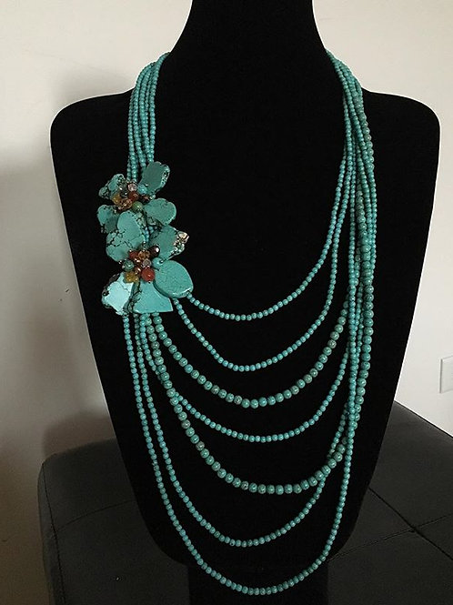 7Layer Turquoise Pearl Necklace