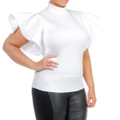 White Mandarin Sleeve Blouse