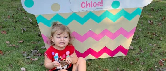 Pink Chevron Cupcake