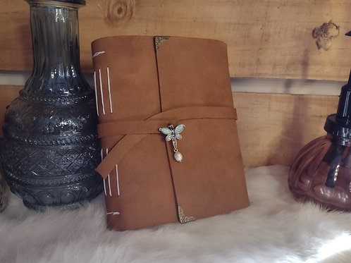 Leather Journal - Dragonfly Charm