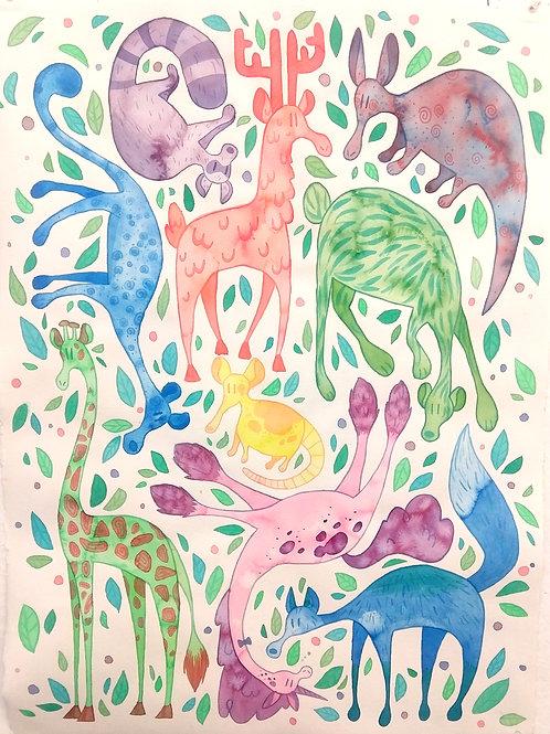 Multicolor Zoo Print