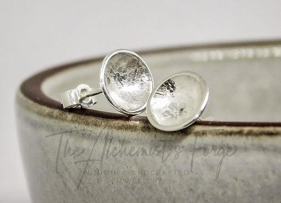 Domed Sterling Silver Floral Stud Earrings