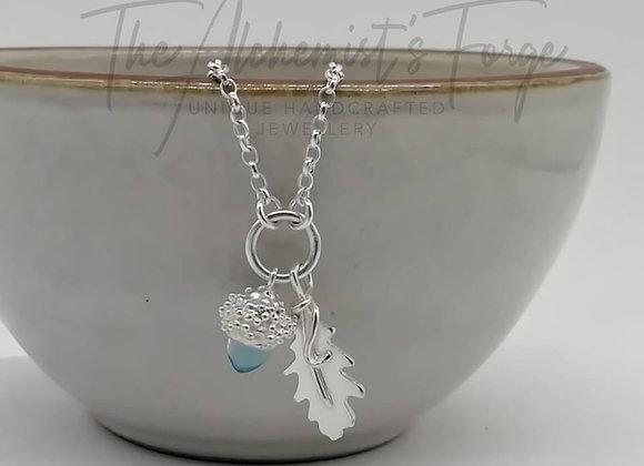Topaz Acorn and Oak Leaf Necklace.