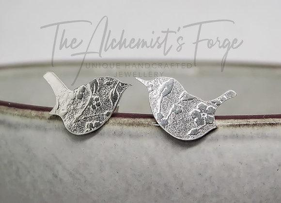 Floral Wren Silver Stud's
