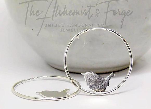 Large Sterling Silver Wren Hoop Earrings