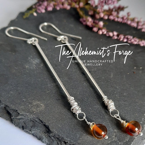 Long drop sterling silver earrings with Amber drop detail