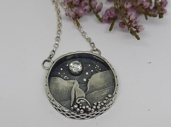 Moon gazer shadow box pendant
