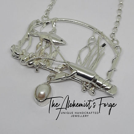 Sterling silver lobster and pearl pendant