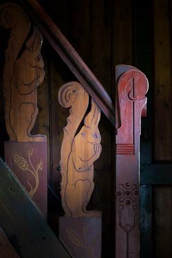 baluster van trap in buitenhuis 'de Roode Pan'