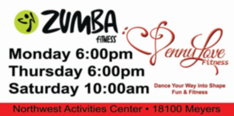 Penny Love Fitness Zumba Schedule