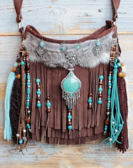adorned bag, cowgirl gift, cowgirl fringed bag,