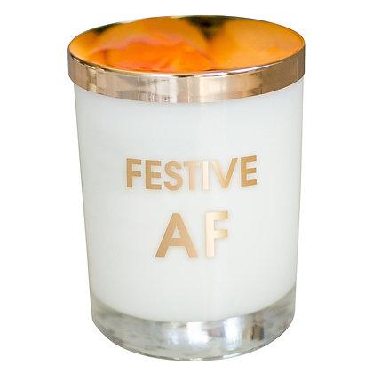 FESTIVE AF CANDLE - GOLD FOIL ROCKS GLASS