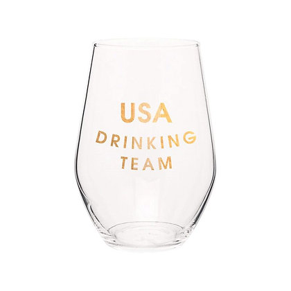 USA DRINKING TEAM- GOLD FOIL STEMLESS WINE GLASS