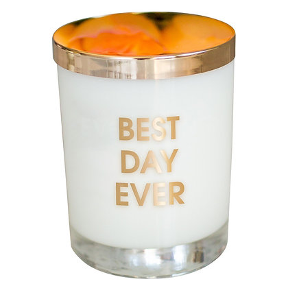BEST DAY EVER CANDLE- GOLD FOIL ROCKS GLASS