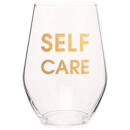 SELF CARE- GOLD FOIL STEMLESS WINE GLASS