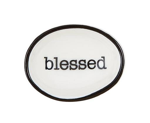 "Black ""Blessed"" Ring Dish"