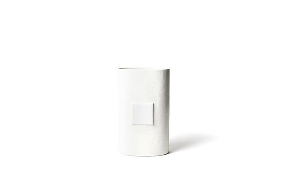 White Small Dot Big Oval Vase
