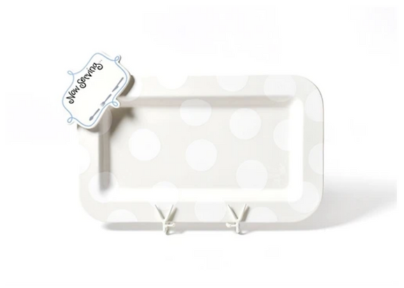 White Dot Mini Rectangle Entertaining Platter with Now Serving Attachment