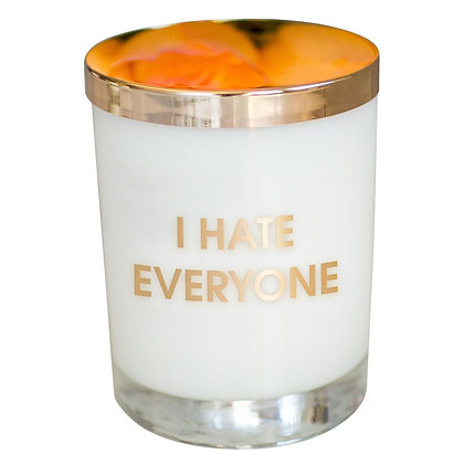 I HATE EVERYONE CANDLE- GOLD FOIL ROCKS GLASS